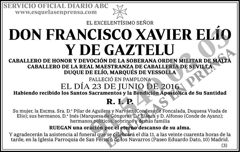 Francisco Xavier Elío y de Gaztelu